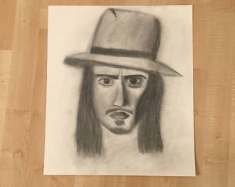 Johnny Depp Drawing - Charcoal