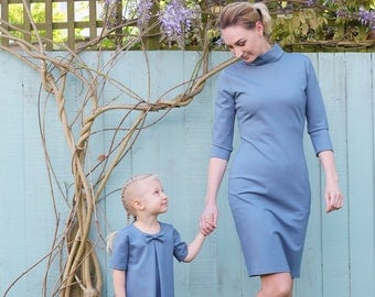 Mother and Daughter Matching Dress Set, Blue