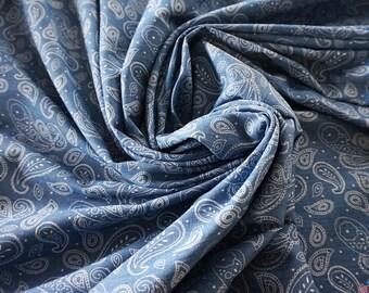 Light Bue Paisley 4oz Printed Denim Fabric