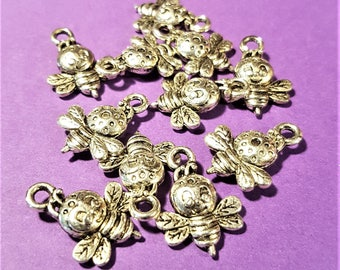 Antiqued Silver 3D Bees