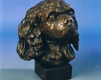 Cavalier King Charles Spaniel Head Bronze Sculpture