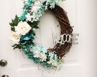 Welcome Grapevine Wreath/Spring/Floral