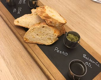 Serving platter/tray, rustic style and chalk board top (Free chalk pen)