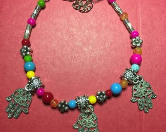 Colorful hand of Fatima 3 Charmed Bracelet