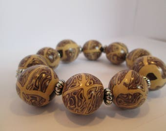 Animal print design bead bracelet - polymer clay - handmade jewellery - brown and ecru beads - gift for her