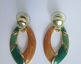 Vintage Earrings Dangle Green Brown Gold  Bijouterie 90s Enamel Metal Summer Elegant Jewelry