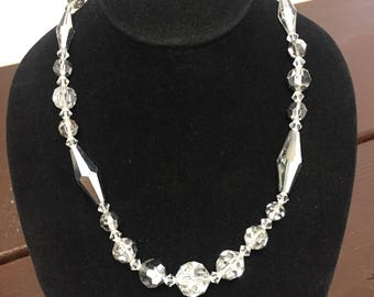Vintage clear glass beaded necklace
