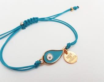 Evil Eye Bracelet, Blue Evil Eye, Macrame Bracelet, Made in Greece, Friendship, Tiny Charm, Adjustable