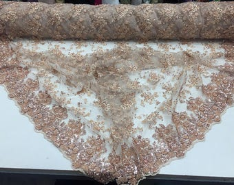 Luxurious luxury Super Beaded Mesh Lace Fabric Bridal Wedding Blush. Sold By The Yard