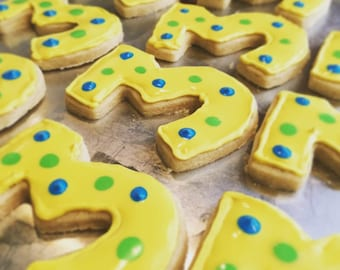 Number Sugar Cookies, Custom Favors, Third Birthday Party,