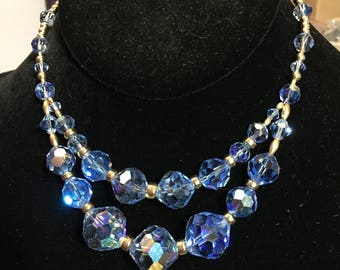 Blue and Gold Vintage Crystal Necklace