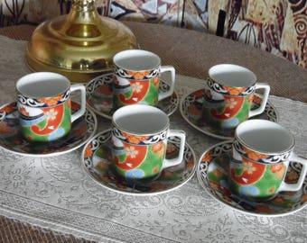 Vintage Demitasse Five Cups and Saucers Porcelain Japanese Motif Red Green Blue Made in Japan