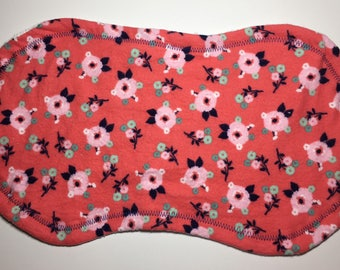 Baby burp cloth - Navy and Coral flower baby burp cloth -  Baby shower gift