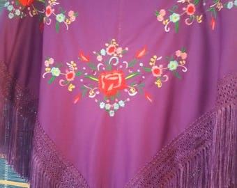 Flamenco PURPLE shawl ( pico ) with multicolor embroidered design - manton bordado -