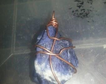 Copper wrapped Blue Sodalite