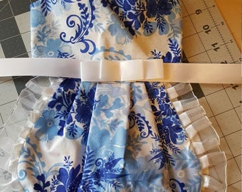 Blue and White Floral Custom Design Harness Dress Small