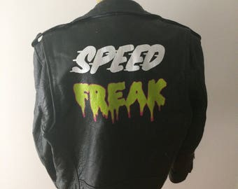 Hand painted vintage leather biker jacket