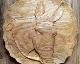 Mule Decorative Dish/Wall hanging 3d Wood Carving