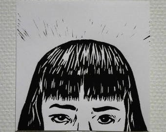 Pulp Fiction Mia Wallace black linocut print 19 x 19 cm limited press