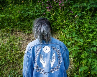 THE EYES - hand painted denim jacket