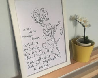 Line Drawing Flower and Quote