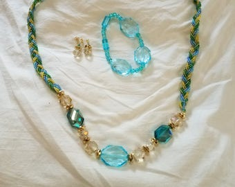 Handmade six stranded, braided Blue and Gold necklace set