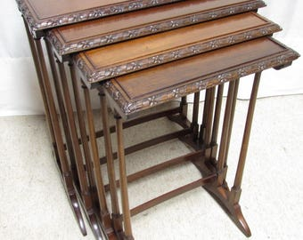 Antique English Quality Nest of 4 Tables occasional tables