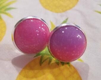12mm BERRY pink & purple Earrings