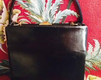 50's Black Leather Handbag.