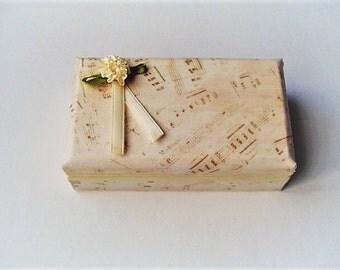 Music theme jewelry storage, earring box,  small bracelet box, cotton fabric, earring box, satin flower and ribbon