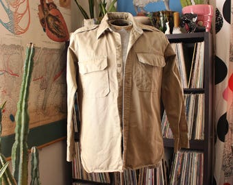 vintage 1940s 50s twill khaki Army shirt by Galey & Lord . Cramerton Army Cloth, Burlington . APPROX size large