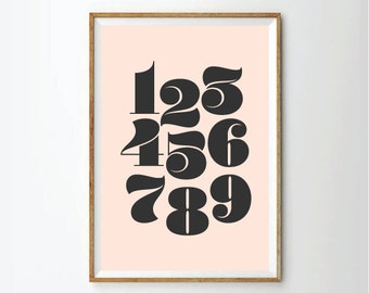 Numbers Art Print,Print, Room Decor, Nursery Wall Art, Wall Art, Nursery Art, Numbers Wall Art, Numbers Poster, Modern Nursery