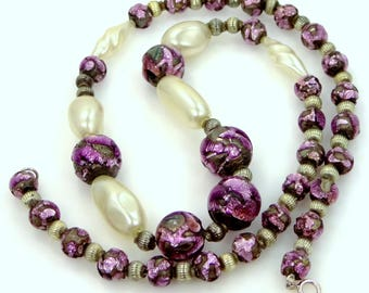Sterling Silver and Purple Foiled Glass Necklace