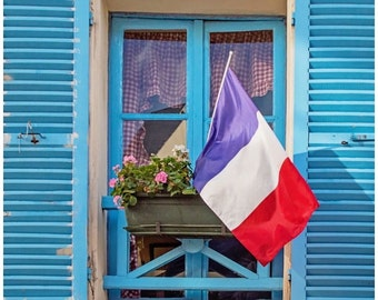 Blue Shutters Canvas Print, French Flag, Montmartre Paris Photography, Canvas Gallery Wrap, 16x16 or 20x20 Large Wall Art