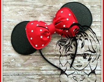 3d BOW w/ MoUSE Ears Inspired (3 Piece) Mr Miss Mouse Ears Headband ~ In the Hoop ~ Downloadable DiGiTaL Machine Emb Design by Carrie
