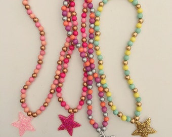 Sparkle Stars , children's jewelry, girls necklace, mommy & me, kids necklace, kids accessories, birthday gift, party favors
