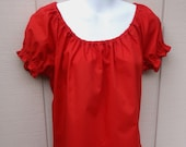 Vintage Red Rockabilly Swing Square Dance Peasant Blouse Top / sz Lge - XL