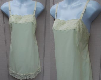 Vintage 60 Yellow Chemise Nylon Tricot Mini Dress Slip / Nightgown / Sml - Med ~ 36 Bust