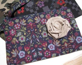Wedding Clutch 2 pockets, wristlet, cotton,, makeup, travel, medium, purple, navy - floral