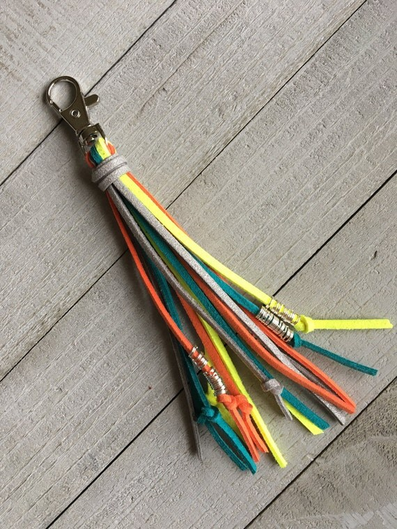 "Bag Tassel Clip Planner Purse Keychain Handbag Zipper Pull  5"" Bright Neon Tassel Boho Chic Unique Gift for Her Mothers Day Birthday Gift"