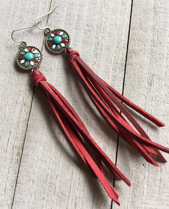 Country Girl Statement Earrings -Western Cowgirl Rodeo Earrings - Long Fringe Tassel Earrings - Country Western Rodeo Jewelry - Gift for Her