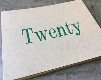 20 custom letterpress name postards