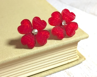 Glitter Sparkling Red Daisy Studs with Heart Shaped Petals and Rhinestone Center, Surgical Steel, Valentines Day (SE8)