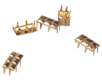 Vintage Gold Quilted Rectangle Metal Studs - 13mm (MS13GORT)