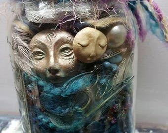 Creativity in a Jar, DIY Create your own, Art Dolls, Moon Goddess, Purple and blue, Assemblage de-stash, clay faces,