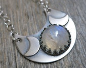 Triple Moon necklace ... metalwork sterling silver / crescent moon / rainbow moonstone
