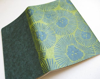 LINED MOLESKINE Notebook- Chrysanthemum Cover - Hand Printed Japanese Paper Cover - 5x8 Journal- Floral Notebook - Ready to Ship