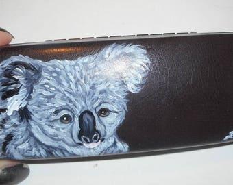 Koala Bear Hand Painted Eyeglass Case Sunglass Case Vegan