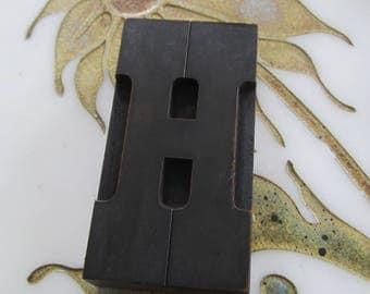 Letter H Antique Letterpress Wood Type Printing Block
