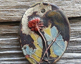 Reserved for Michelle Rustic Clover Pendant Ceramic Statement Size Stoneware  by Mary Harding
